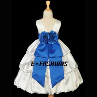 IVORY ROYAL BLUE WEDDING FLOWER GIRL KID BRIDESMAID PARTY DRESS 2 3 4