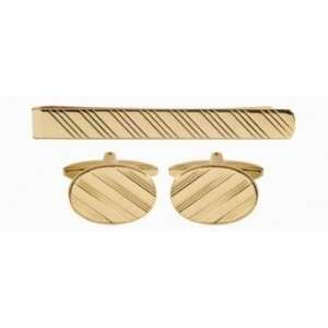 Oval Full Diagonal Line Design Cufflinks & Tie Slide Set