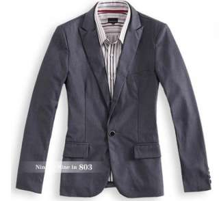 Men Slim Fit Business Relaxation Suit Jacket Gray 1091