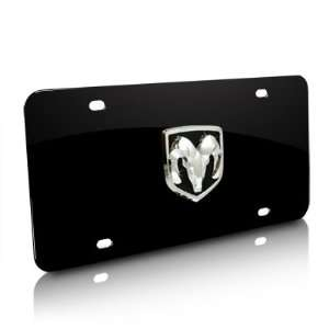 Dodge Ram 3D Logo Black Steel License Plate, Official