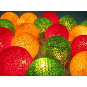 (Green, Red, Yellow) Cotton Ball Patio Party String Lights (20/set