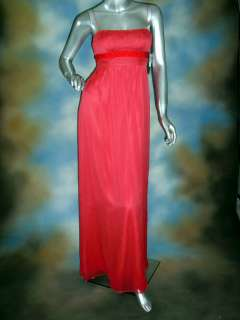 AQUA coral padded bra chiffon beaded empire waist formal gown dress 8