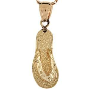 14k Real Gold Sandal Shoe Diamond Cut Charm Pendant