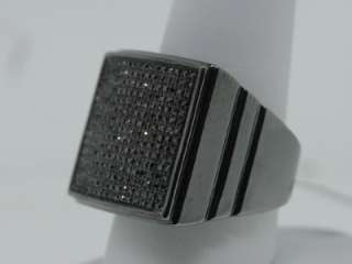 MENS WHITE GOLD FINISH BLACK DIAMOND FLAT PINKY RING