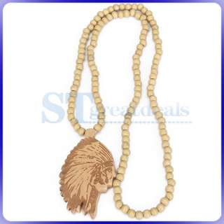 Good Wood NECKLACE Wooden Charm Pendant Ball Beads Chain Piece Gift