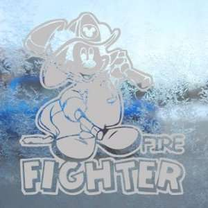 FIRE FIGHTER Gray Decal Window Gray Sticker Arts, Crafts & Sewing