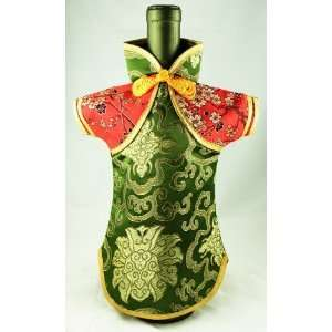 Decorative Wine Dress   Cute Green Female Wine Dress with Red Sleeves