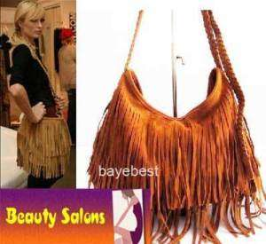 Faux Suede Fringe Tassel Purses Shoulder Cross Body Bag
