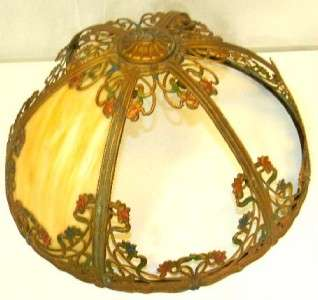 1930s Art Nouveau Slag Glass Lamp Shade w/ 6 Panels