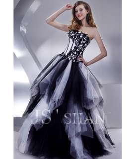Black Tulle Strapless Beading Long Formal Prom Ball Gown Evening Dress