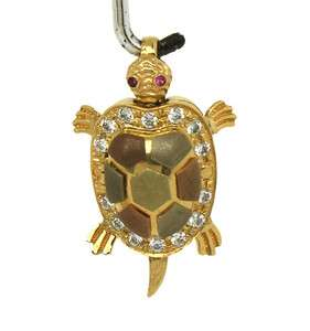 MOVABLE 14K TRI COLOR GOLD DIAMONDS & RUBIES 3D TURTLE PENDANT OPENS