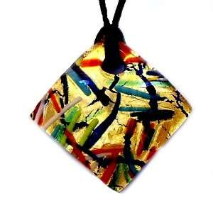 Murano Glass Gold Stripe Multicolored Diamond Pendant