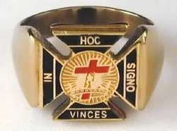 MASON MASONIC YORK RITE RED BLACK GOLD STAINLESS STEEL GOLD RING