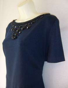 JESSICA HOWARD Navy Beaded Stretch Knit Holiday Cocktail Versatile
