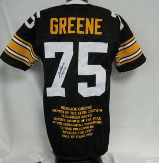 Joe Greene HOF 87 Steelers Auto/Signed Stat Jersey JSA