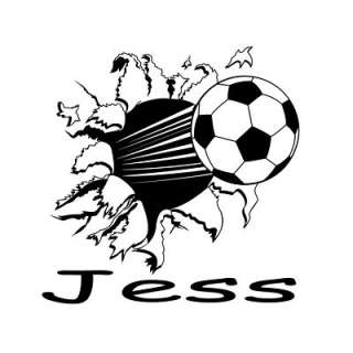 Personalized Flying Soccer Ball Vinyl Wall Art Decal