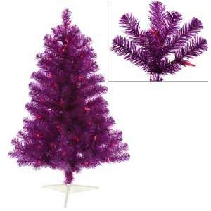 3 Pre Lit Fuschia Artificial Sparkling Christmas Tree