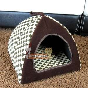 Cat House Indoor Pet Dog Cat House Bed Classical Grid Brown Sz Small