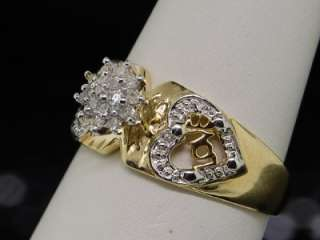 LADIES YG HEART CLUSTER DIAMOND RING ENGAGEMENT BAND