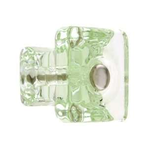 Square Depression Green Glass Cabinet Knob With Nickel