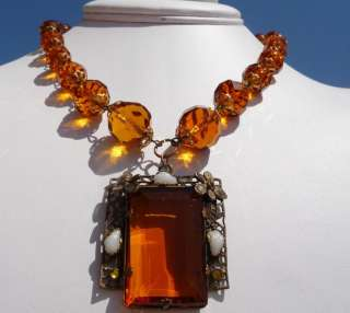 SPECTACULAR Vintage ART DECO CZECH Topaz Glass Baroque Pearl NECKLACE