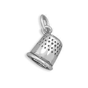Sterling Silver Thimble Charm Measures 9x8mm   JewelryWeb