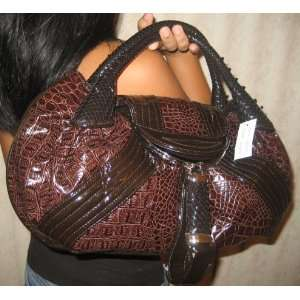 Coffee Brown Croc Leather Lk Dectective Celebrity Spy Bag Hobo