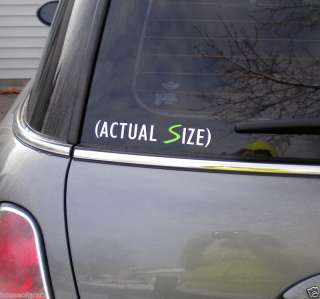 Actual Size decal sticker fits Mini Cooper, S, Clubman