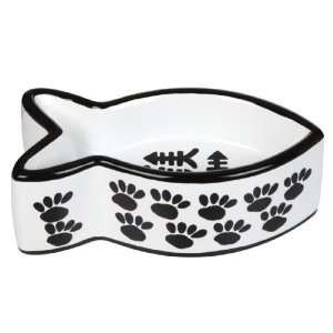 Creature Comforts Fish Shaped Dish   Black & White Paws