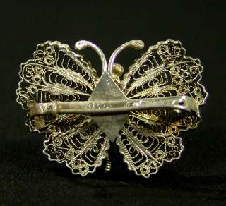 IMPERIAL RUSSIAN SILVER FILIGREE BUTTERFLY BROOCH PIN