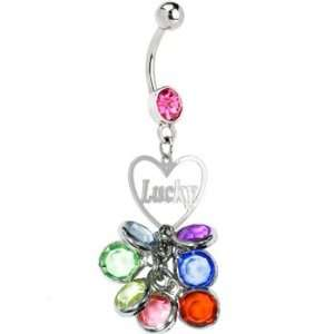 Pink Gem Beaded Lucky Heart Charm Dangle Belly Ring