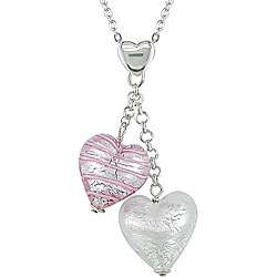 Silver Murano Glass Pink and Silver Heart Necklace