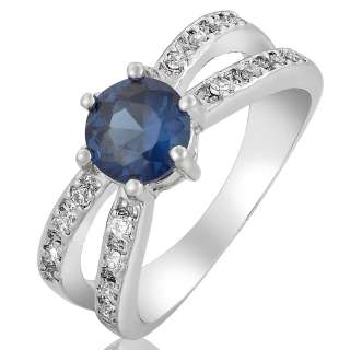 SALE Gift Blue Sapphire White Gold GP Ring Lady Fashion Jewelry 6/M
