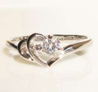 NEW heart to heart created diamond silver tone ring promise engagement