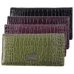 Kenneth Cole Reaction Womens Slim Croc Print Clutch Wallet
