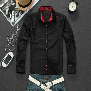 Mens Casual Slim fit Stylish Long Sleeve Shirts Luxury Two Color Three
