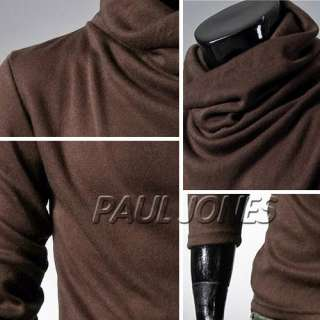 Designed Mens Casual Longsleeve T shirt Turtleneck Tees IN 6Colors