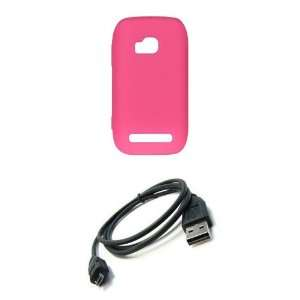 Soft Skin Case Cover + Atom LED Keychain Light + Micro USB Data Cable