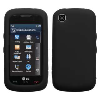 For LG GT550 Encore AT&T Phone Solid Black Bumper Silicone Skin Case