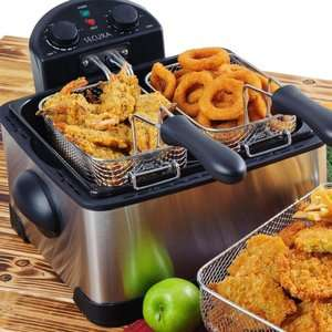 Cup 1700 Watt Stainless Steel Triple Basket Electric Deep Fryer