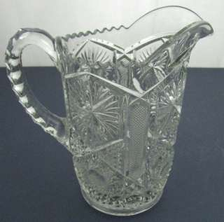 Antique Old EAPG Clear Crystal Glass Pinwheel Pitcher