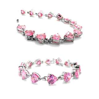 CHRISTMAS GIFT JEWELRY PINK SAPPHIRE WHITE GOLD GP TENNIS FASHION