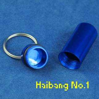 Aluminum Pill Box Case Bottle Holder Container Key Ring New