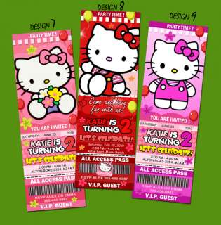 HELLO KITTY BIRTHDAY PARTY INVITATION TICKET CUSTOM CARD INVITES  c4