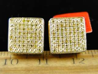 MENS/LADIES YELLOW FINISH CANARY DIAMOND 11 MM BEZEL 3D STUDS EARRINGS