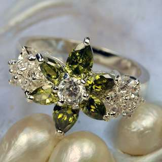 New Peridot Flower Shaped Gems Silver Ring Size #9 CR41