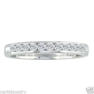 Paris Jewelry 14K Solid White Gold 1Ct Genuine Diamond Channel