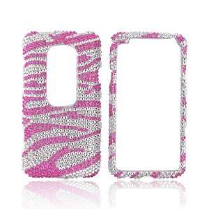 Pink Zebra on Silver Gems Bling Hard Plastic Case Cover