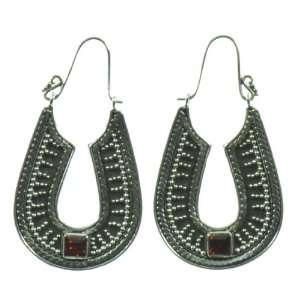 Silver Red Stone Good Luck Earring Jewelry of Bali Jewelry