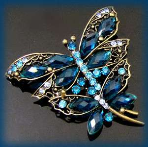 ADDL Item  antiqued rhinestone dragonfly brooch pin